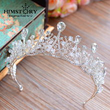 HIMSTORY Clear Crystal Rhinestone Crown Tiara Bride Silver Color Heart Shape European Princess Handmade Hair Accessory