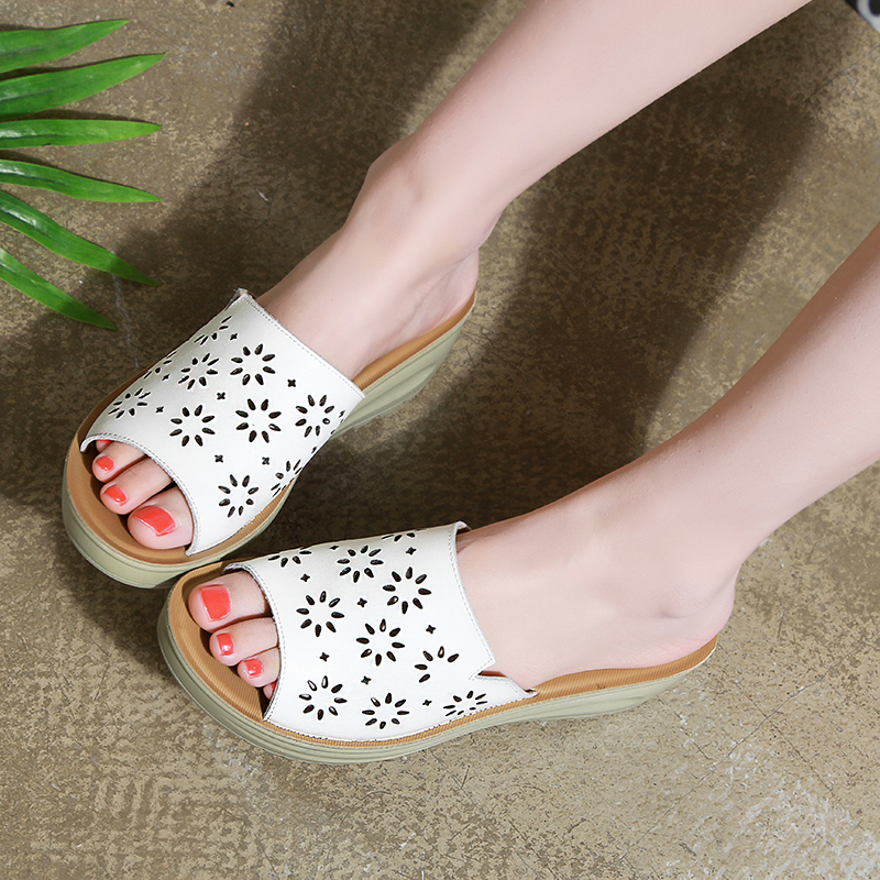 D&Henlu Summer Hollow Shoes Womens Clogs Platform Slides 2018 Wedges Slippers Flip Flops Beach Sandals Woman Shoes Flower White denim zipper hollow worn stiletto womens sandals