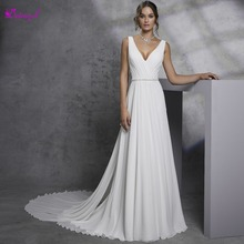 Detmgel Design V-Neck Backless A-Line Wedding Dresses 2019