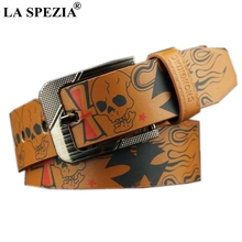 LA SPEZIA Men Belt Leather Pin Buckle Brown Skull For Punk Casual Pu Male Belts Jeans 110cm