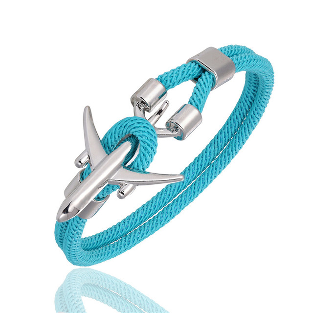 MKENDN Airport Fashion Men Women Airplane Anchor Bracelets Charm Rope Chain Paracord aviation life Jewelry Pulseras hombres