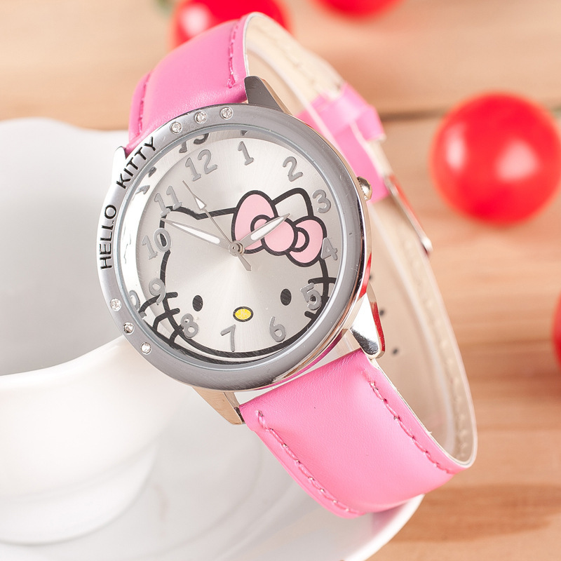 New Hello Kitty Children Watches Girls Quartz Leather Kids Watches Cartoon Lovely Girls Children Clock Feminino Relojes Relogio(China)