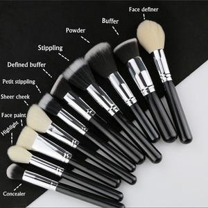 Image 4 - BEILI Black Professional NO Logo Goat hair brush Powder Foundation Contour Concealer  Eyes Blending 25 pcs Makeup Brush set