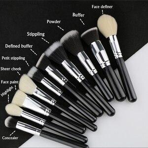 Image 4 - BEILI Black профессиональная кисть из козьего волоса без логотипа, пудра, контурный консилер, растушевка глаз, 25 шт., набор кистей для макияжа