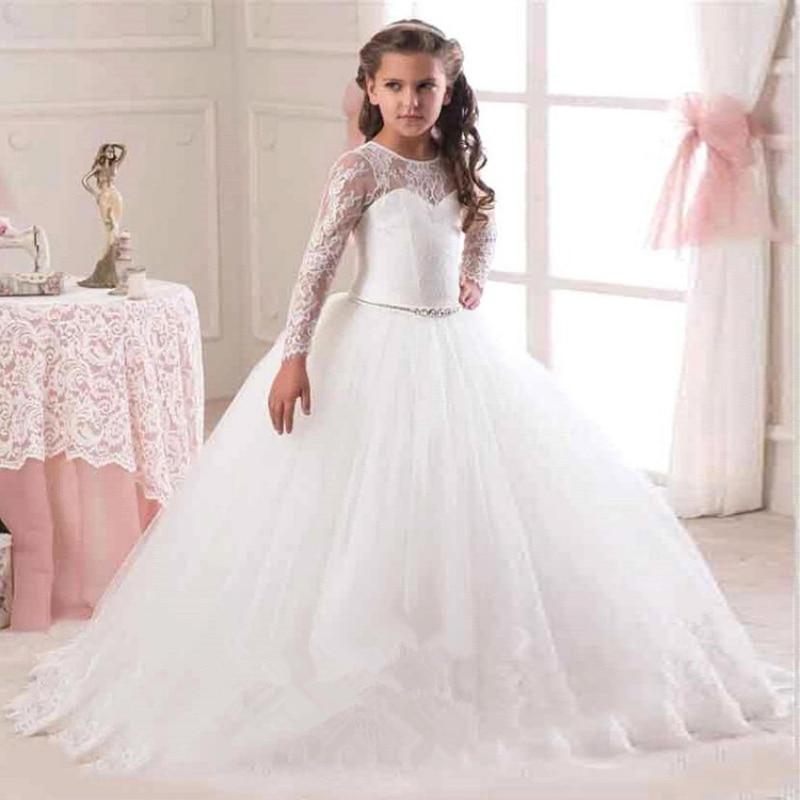 Girls Princess Dress Children Lace Embroidery Gauze Dance Performances Kid Clothes