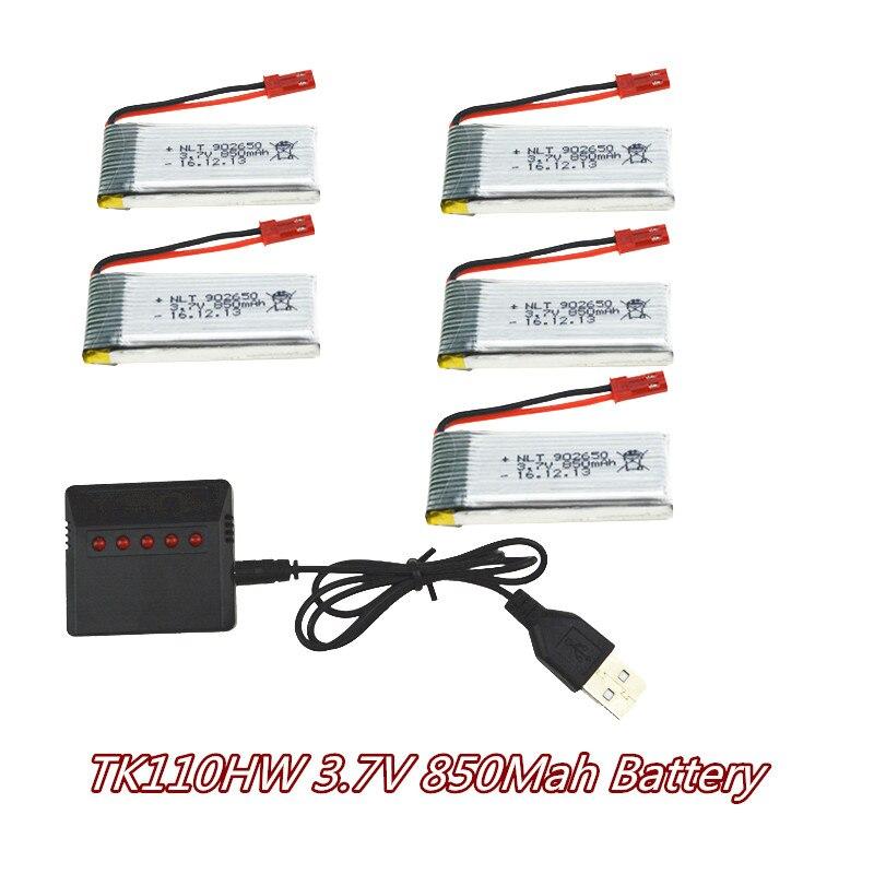 TK110HW font b Rc b font Quadcopter Drone Spare font b Battery b font 5pcs 850Mah