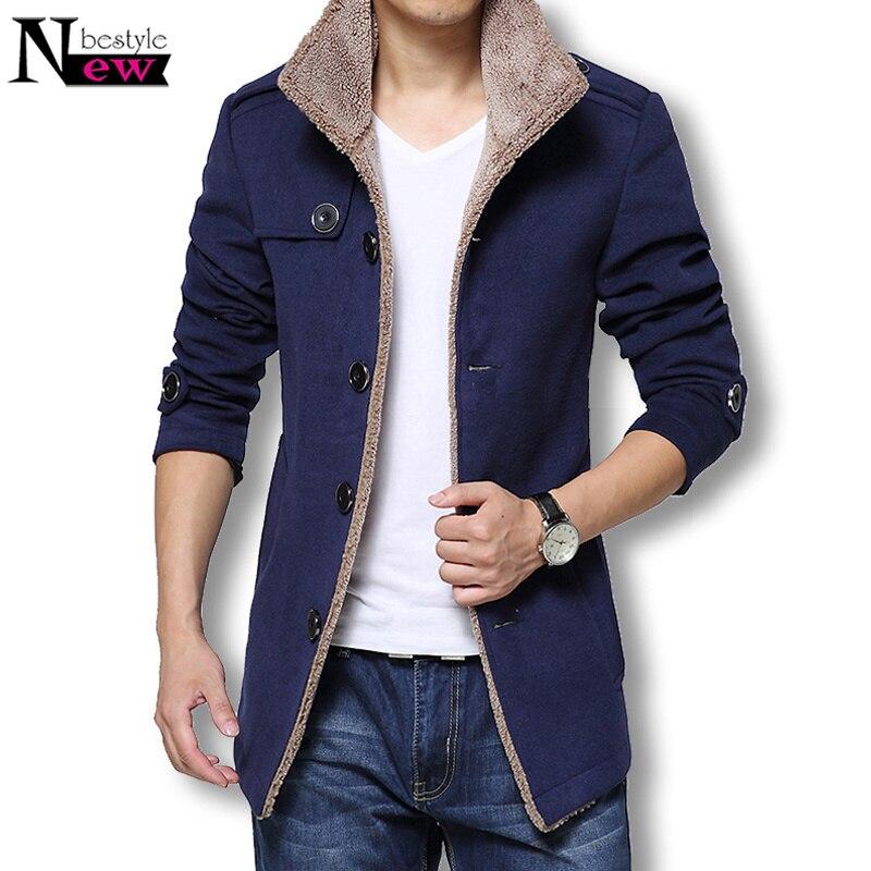2018 Men Long Wool Coat Winter Men Jackets Coats Slim Fit Men Windbreaker Stand Collar Trench Coat High Quality Men Casual Coat