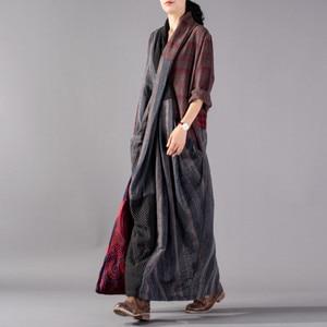 Image 2 - Johnature Vintage Plaid Patchwork Long Loose Dresses Full Sleeve V Neck Pockets New 2020 Spring Cotton Linen Women Dresses