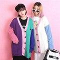 Мода краситель матч аппликация маленькая пряжи вязаный кардиган свободно Большой размер свитер женский
