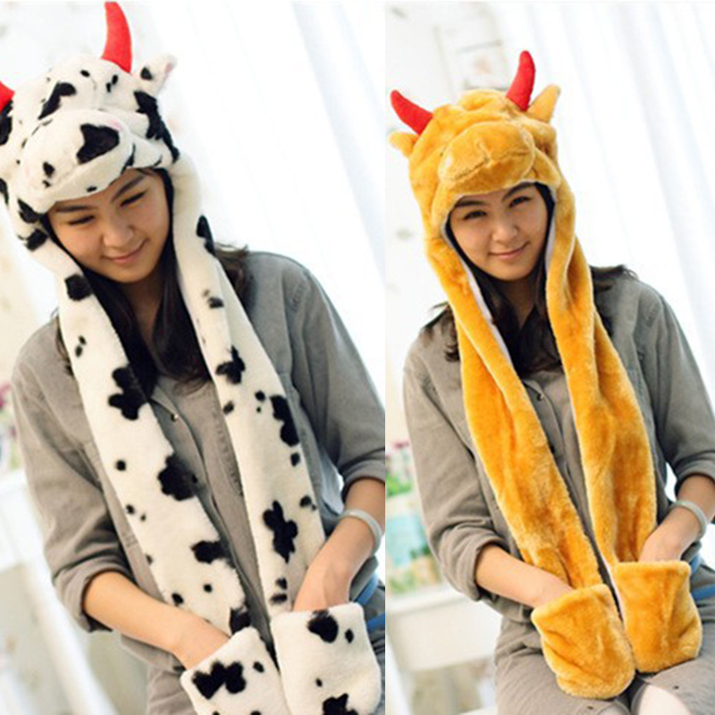 animal hat beanies scarf cap women winter warm Panda Stitch Giraffe Cute cap hats With Long Scarf Gloves for women girls ladies zea rtm0911 1 children s panda style super soft autumn winter wear cap scarf set blue