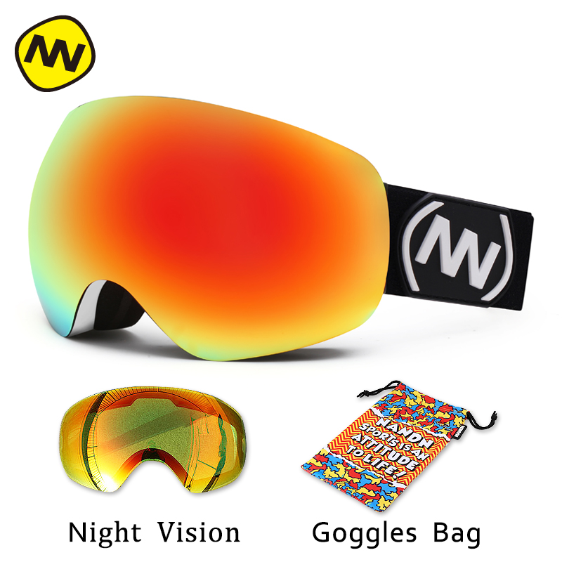 NANDN brand ski goggles  Double Lens Large spherical UV400 Anti-fog Adult Snowboard Skiing Glasses Women Men Snow Eyewear 100% brand barstow retro motorcycle glasses anti fog wind skiing glasses mtb road eyewear tear off film cycling glasses men