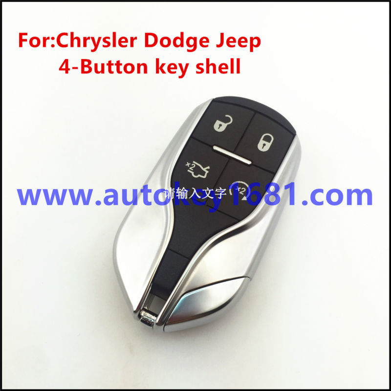 For Chrysler Dodge Jeep SMART KEY LESS ENTRY REMOTE Shell WITH UNCUT BLADE 4-BUTTON With logo free shipping 1piece 2 button remote key mit11 uncut blade with 46 chip 433mhz for mitsubishi