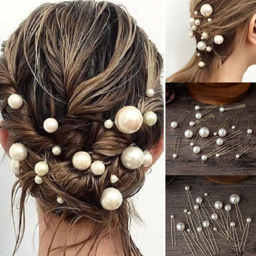 20Pcs/box Women U-shaped Pin Metal Barrette Clip Hairpins Pearl Bridal Tiara Hair Accessories Wedding Hairstyle Design Tools