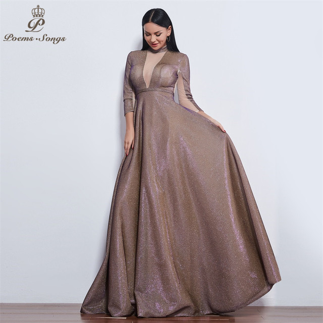 Poems Songs 2019 New style reflective dress beautiful colorful Long sleeve Evening Dress prom gowns  Formal Party dress 3