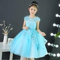 נסיכת שמלת ילדה חדשה למסיבה ללבוש תינוק ילדים מסיבת ערב כדור כותנות הכחול Junior רקמת תחרת חתונת יום הולדת בנות