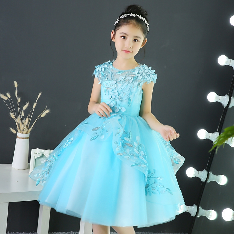 New Girl Dress Princess for Party Wear Baby Children Evening Party Ball Gowns Blue Junior Embroidery Lace Wedding Birthday DressNew Girl Dress Princess for Party Wear Baby Children Evening Party Ball Gowns Blue Junior Embroidery Lace Wedding Birthday Dress