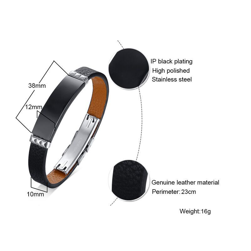 No fade 316L Stainless Steel Bracelets Bangles Men Genuine Leather Band Cuff Wrap Bracelet Male Black Jewelry Adjustable Size in Wrap Bracelets from Jewelry Accessories