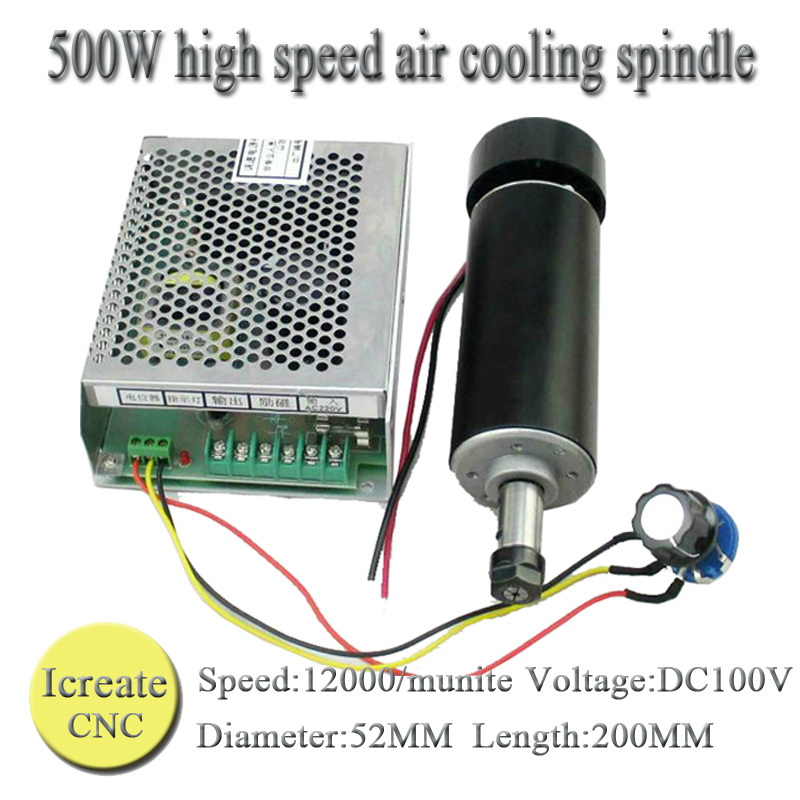 цена на Free Shipping 0.5kw Air Cooled Spindle Kit ER11 Chuck CNC 500W Spindle Motor+Power Supply Speed Governor For DIY CNC