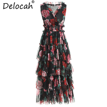 Vintage Dress Cupcake Runway Fashion Spring Summer Floral-Printed Ruffles Sexy Women