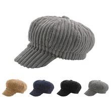 Las mujeres de pana de octogonal tapas pintor sombrero Casual boinas gorras  bien caliente y madura a8cb8491bff