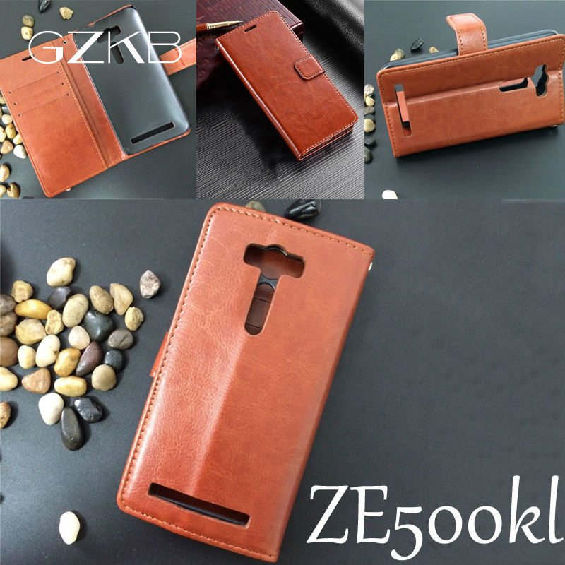 For Asus Zenfone 2 Ze500kl Case Cover Business Luxury Flip Leather Case For Asus Ze500kl Crazy Horse Wallet Phone Bags Cases