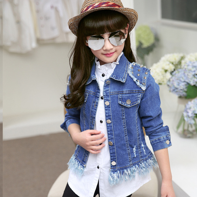 0b91b2f44 Girls denim jacket coats autumn size for 5 6 7 8 9 10 11 12 years old  children clothing 2017 new tide rivet Holes jean outerwear