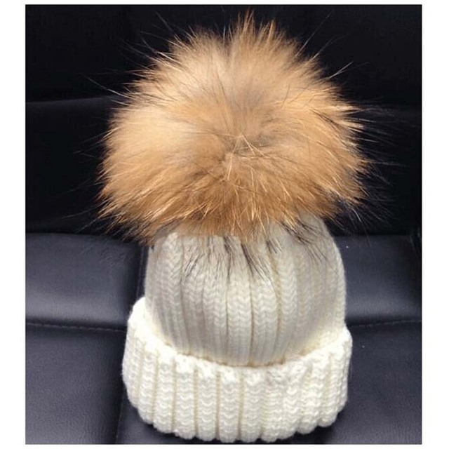2016 Winter  New Colorful Snow Caps Wool Knitted Beanie Hat for Women with a raccoon fur pompon