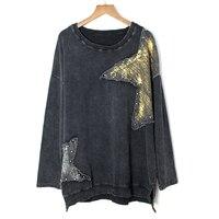 Korea Fashion New Women 2019 Autumn O neck Full Sleeve Loose T shirt Female Print Geometric Rivet Harajuku Loose Tee Streetwear