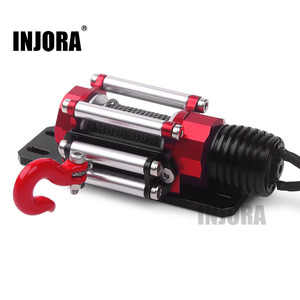 Image 1 - INJORA RC Car Metal Steel Wired Automatic Simulated Winch for 1/10 RC Crawler Car Axial SCX10 90046 D90 Traxxas TRX4