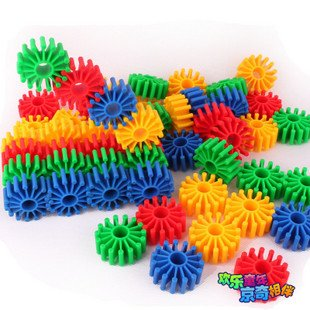 Candice guo! Hot sale colorful soft plastic blocks gear shape baby DIY educational toy G16