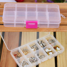 10 Grids Adjustable Jewelry Beads Pills Nail Art Tips Storage Box Case Organizer Women For Plastic Container Makeup Organizer(China)