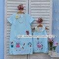 Children clothing Мать и Дочь платье Шифон вышивка кролик, 2-10 лет Ребенок Девушки одежду, женщин Большого размера 4XL