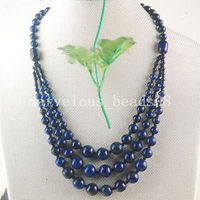 Free Shipping Women Fashion Jewelry New Fashion Natural Lapis Lazuli Women Men 3 Row Necklace FG6212