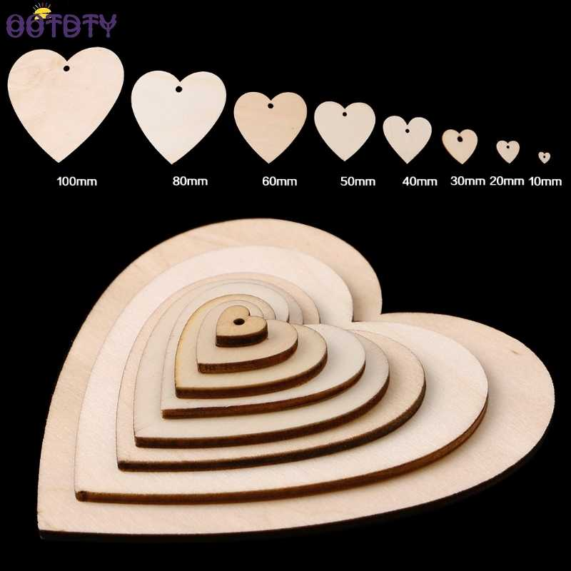 20 mm-100mm Wooden Heart Shapes Blank Craft Embellishments with Hole Decoupage Tag Decor
