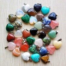Atacado 50 pçs/lote moda de boa qualidade natural pedra mix coração encantos pingentes 16mm para jóias acessórios fazendo livre