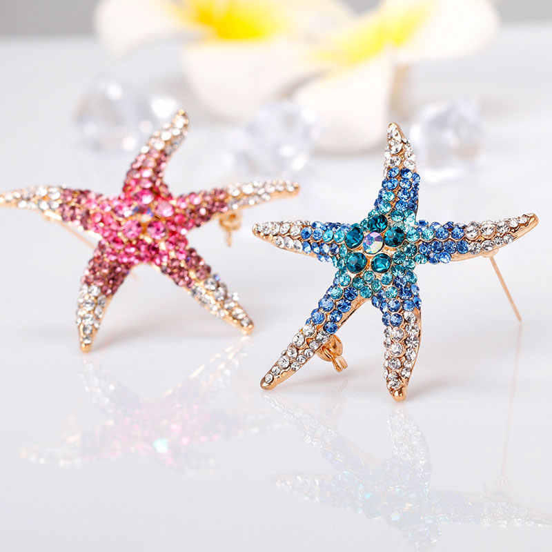Pretty AAA Full Rhinstones Starfish Brooch Red Blue Green Blue Animal Sea Star Brooches for Women Brooch Pin Jewelry Accessories