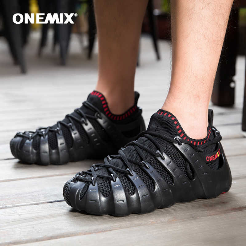 Onemix רומא נעלי גלדיאטור סט נעלי גברים & נשים ריצה ריצה נעלי ספורט חיצוני הליכה נעלי גרב-כמו סנדלי נעל