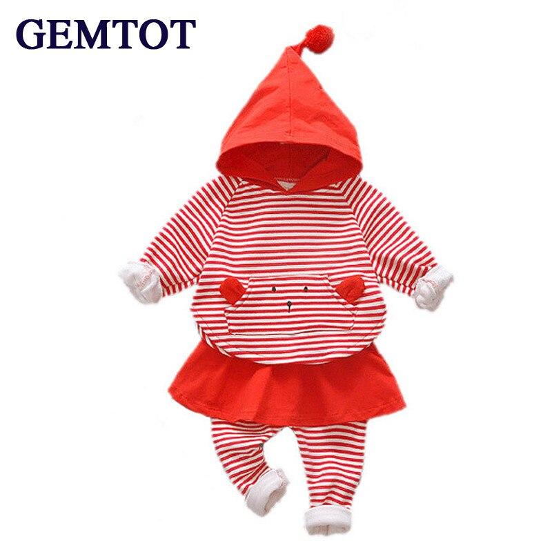GEMTOT Boys girls children Autumn clothing 2017 new infant Striped long-sleeved T-shirt +plus velvet pants two-piece set