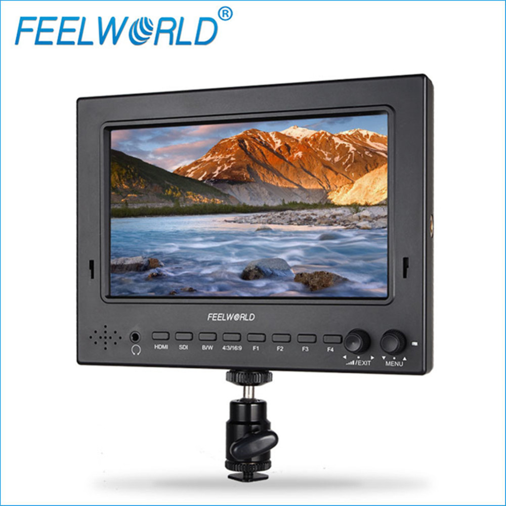 Feelworld 7 IPS 1024x600 Lightweight 3G-SDI HDMI Camera Field Monitor with Peaking Focus HDMI Cable for BMPCC DSLR FW702-HSD