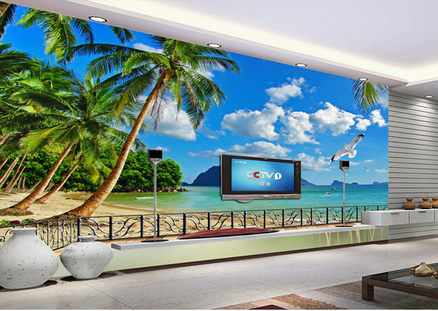 Custom photo wallpaper, Hawaii beach murals for the living room ...