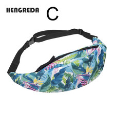 3D Printing Fanny Pack Women Colorful Waist Bag Bum Hip Belt Pocket Travel Casual Bolsa for Phone Money Men Pineapple Unicorn(China)