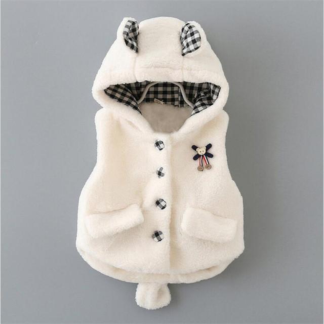 Adecuado 0-2 años de edad del bebé chalecos nuevo estilo de moda caroon shaped falsa chalecos de piel de bebé para el otoño invierno 3 colores