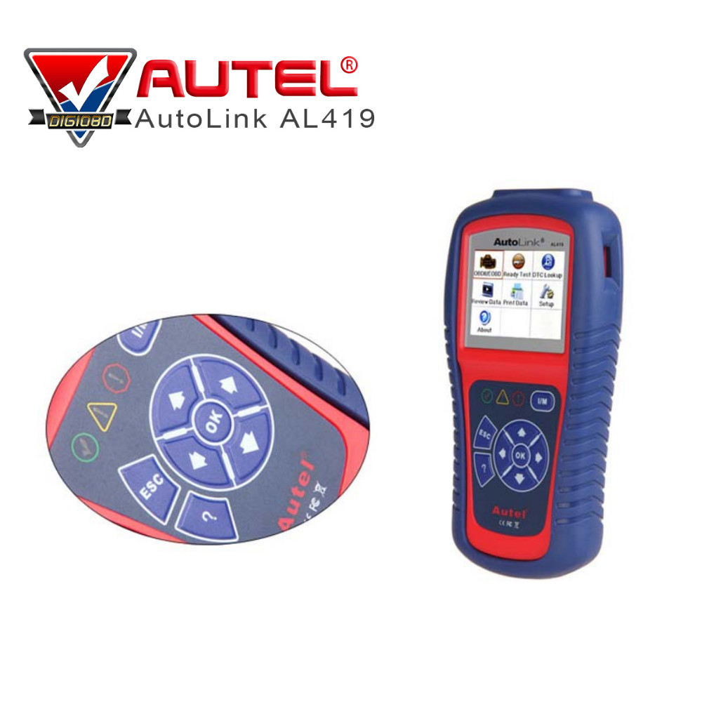100% Original Autel Autolink AL419 OBDII CAN Scan Tool with TFT Color Screen Code Reader AL-419 with Troubleshooter code tips 100% original autel autolink al519 code reader obdii eobd can scan tool updated online autolink al519 scanner free shipping