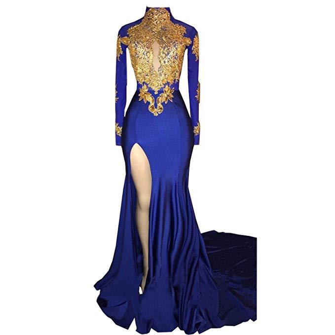 Mermaid High Neck Long Sleeves Prom Dress 2019 New Gold Appliques Split Evening Gowns Vestidos De Fiesta De Noche