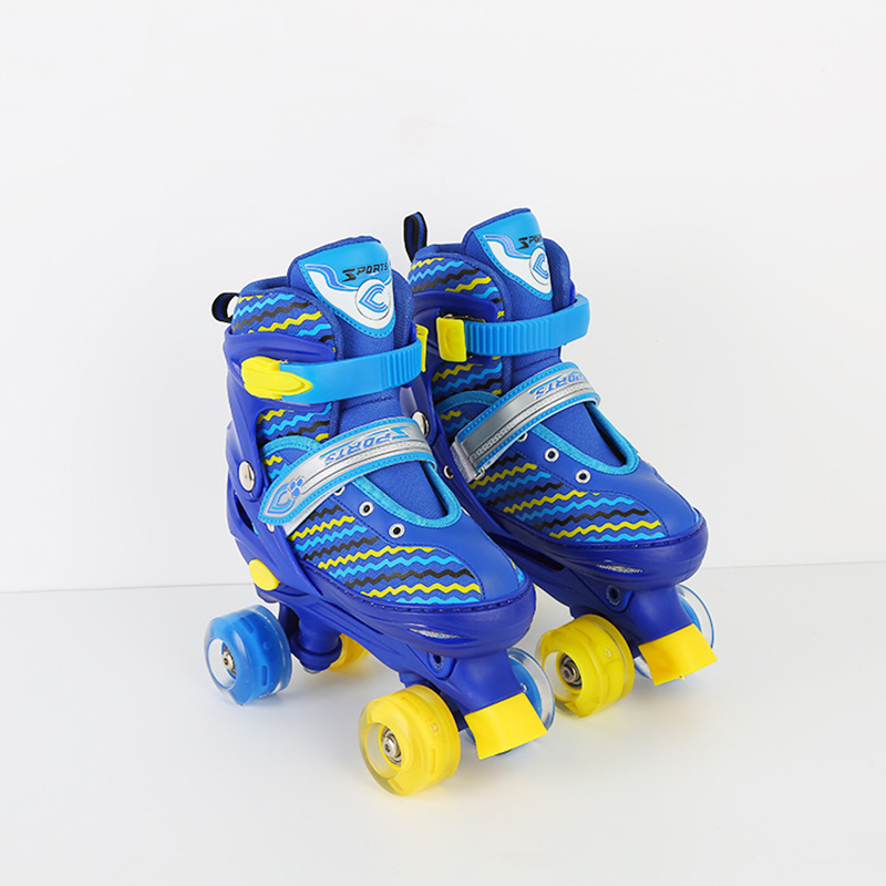 1 Pair Adult Children Double Line Inline Skates Skating Shoes Adjustable Size Breathable Patines PU Flashing Wheels 2 Colors