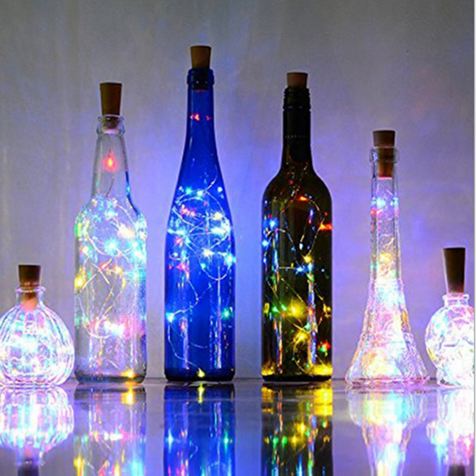 YB Yiba 2M 20 LEDS Wine Bottle Lights With Built In Battery Cork Shape Silver