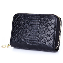 Crocodile Pattern Cow Genuine Leather Zipper Credit Magnetic Card Package Bank Card Wallet ID Holders Zero Purse Female Credit