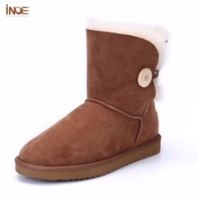 INOE sheepskin leather short suede women winter snow boots with button fur lined winter shoes brown black red high quality 35-44