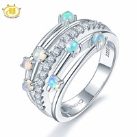 473a9fc3d535 Hutang Natural Gemstone Opal Rings 925 Sterling Silver Engagement Ring Fine  Stone Jewelry Elegant Design For