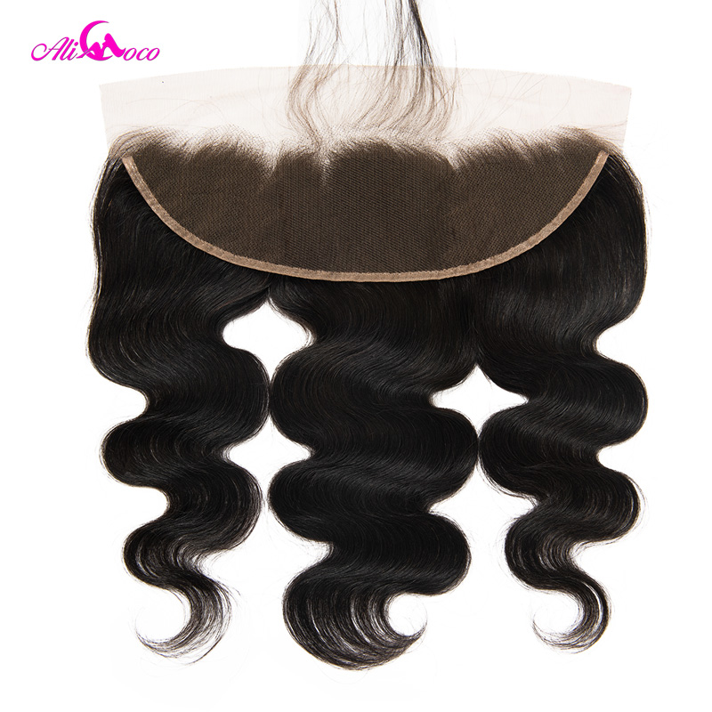 Ali Coco Hair Brazilian Body Wave Lace Frontal With Baby Hair Natural Color / #2/ #4 8-20 Remy Hair Lace Frontal Closure